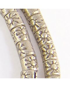 Hill Tribe Silver Sun Printed Cylinder Beads Strand