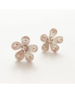 Hill Tribe silver flower shaped stud earrings