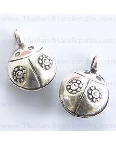 Hill Tribe Silver Flower Printed Lady Bug Bell Charm