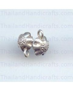 HILL TRIBE SILVER FLOWER PRINTED ROUND BELL CHARM
