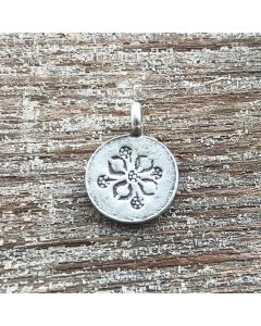 Fine Hill Tribe Silver Flower Power Disk Charm
