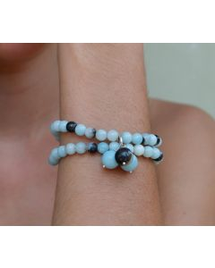 Azure Bracelet, Authentic Aquamarine, blue & black Quartz, hill tribe silver charm, sterling silver lobster clasp