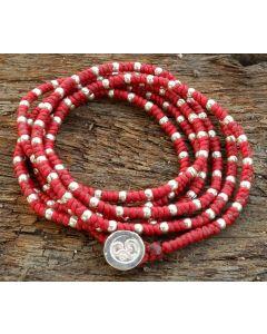 Lea Adjustable Bracelet & Necklace, Fine Karen Silver, Waxed Cotton String