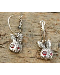 Amika Earrings, Fine Sterling Silver, Garnet Gemstone