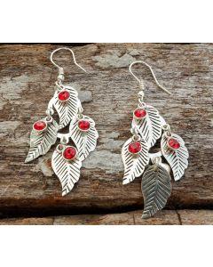 Ena Leaf Earrings, Fine Sterling Silver, Garnet Swarovski Crystal