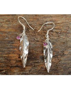 Lawan Leaf Earrings, Sterling Silver, Rose Swarovski Crystal