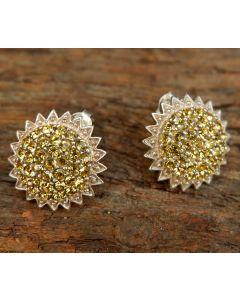 Sol Earrings, Authentic Citrine Swarovski, Sterling Silver