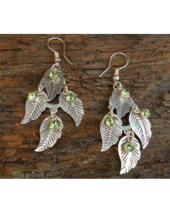 Wild Jasmine Leaf Earrings, Sterling Silver, Peridot Swarvoski Crystal