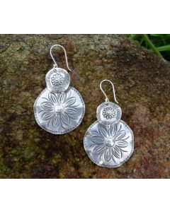 Fine Hill Tribe Silver Flower Power Imprinted Drop Earrings