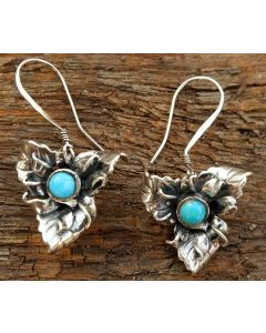 Hana Earrings, Sterling Silver, Authentic Turquoise