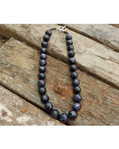 Pandora Necklace, Authentic Black Sandstone, Fine Karen Silver