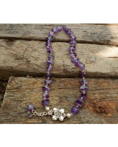 Kamala Necklace, Authentic Amethyst, Fine Karen Silver