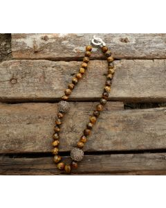Elda Necklace, Tiger Eye, Balinese Silver, Fine Karen Silver