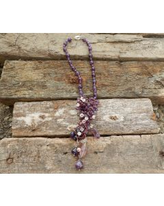 Semira Necklace, Authentic Amethyst, Rose Quartz, Fine Karen Silver