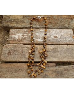 Alex Necklace, Tiger Eye, Fine Karen Silver, Garnet