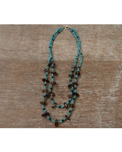 Azura Necklace, Smokey Quartz, Authentic Turquoise, Fine Karen Silver