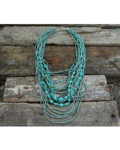 Azul Necklace, Authentic Turquoise, Fine Karen Silver