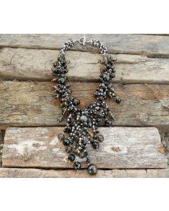 Sauda Necklace, Authentic Onyx, Smokey Quartz, Rose Quartz, Agate, Black Pearl, Fine Karen Silver