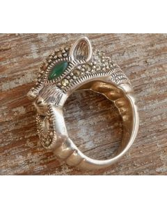 The Last Tiger Ring, Sterling Silver, Authentic Jade and Marcasite