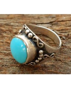 Chowa Ring, Sterling Silver, Turquoise Stone