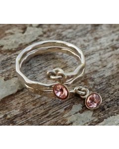 Lola Ring, Fine Sterling Silver, Light Rose Swarvoski Crystal