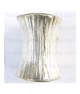 Hill Tribe Silver Engraved Hourglass Bead