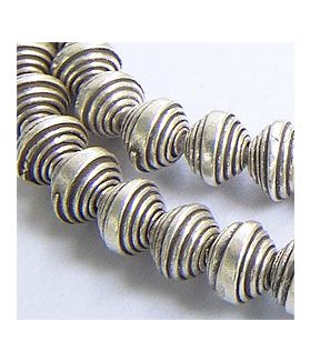 Hill tribe Silver Curled Oval Bead Strand.