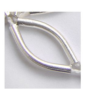 Hill tribe Silver Plain Long Curved Tube Bead