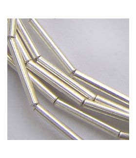 Hill Tribe Silver Plain Cylinder Tube Beads Strand