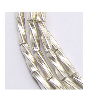 Hill Tribe Silver Twist Tube Beads Strands