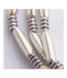 Hill tribe Silver Long Oval Shaped Tube Beads Strand