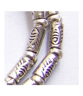 Hill Tribe Silver Fish Printed Cylinder Beads Strand