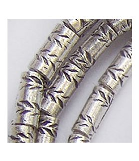 Fine Hill Tribe Silver Leaf Printed Cylinder Beads Strand