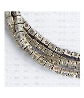 Fine Hill tribe Silver Printed Rectangular Cube Beads Strand