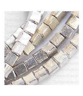 Fine Hill tribe Silver Mini Cube Shaped Beads Strand