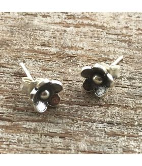 Fine Hill Tribe Silver Flower Stud Earrings