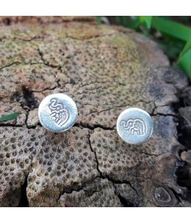 Handcrafted Elephant Engraved Earrings Silver