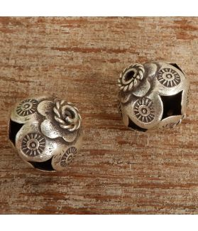Hill Tribe Silver tribal Botanical Flower Imprinted Bead