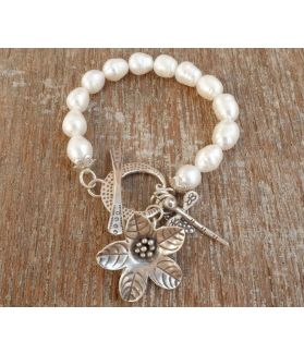 Aria Bracelet, Fine Karen Silver, White Pearls