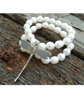 Mystique Bracelet, White Pearl, Fine Karen Silver
