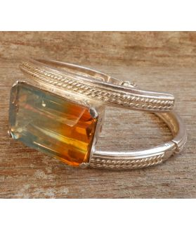 Ember Bangle, Sterling Silver, Authentic Tourmaline Gemstone