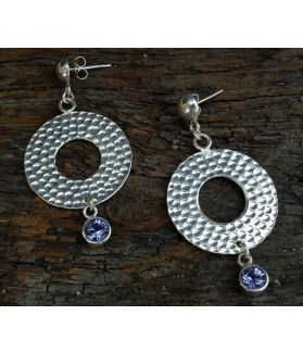 Lucia Earrings, Sterling Silver, Amethyst Swarovsky Crystals