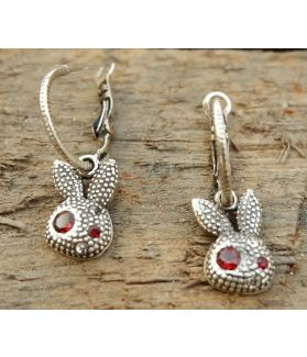 Amika Earrings, Fine Sterling Silver, Garnet Gemstone