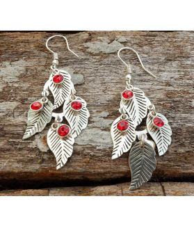 Ena Leaf Earrings, Fine Sterling Silver, Garnet Swarovski Crystal