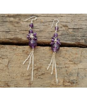Electra Earrings, Sterling Silver, Authentic Amethyst Stone