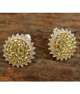 Sol Earrings, Authentic Citrine Swarovski, Sterling Silver