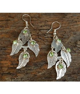 Wild Jasmine Leaf Earrings, Sterling Silver, Peridot Swarvoski Crystal
