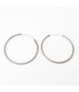 FREE for Limited Time: Exotic Tribal Engraved Handmade Silver Hoop Earrings
