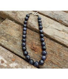 Pandora Necklace, Authentic Black Sandstone, Fine Karen Silver