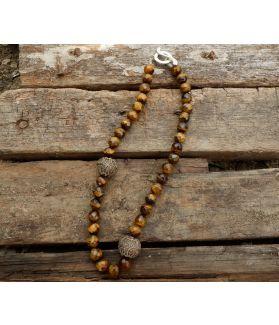 Elda Necklace, Tiger Eye, Balinese Silver, Fine Karen Silver